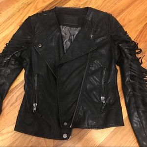 Black leather jacket fringe sleeve